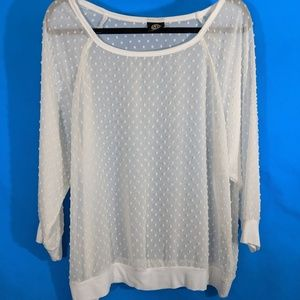 Sheer White Top With Textured Dots Bobeau XL